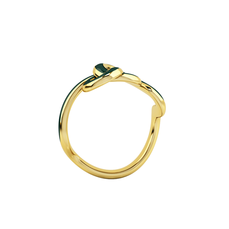 1986 Wiggle Wiggle Knot Emerald Green Enamel & Gold Ring