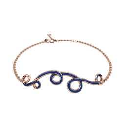 1986 Wiggle Wiggle Bracelet in Royal Blue Enamel & Rose Gold