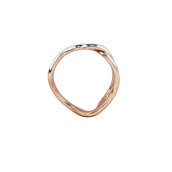 1986 Wiggle Wiggle Thread Baby Blue Enamel & Rose Gold