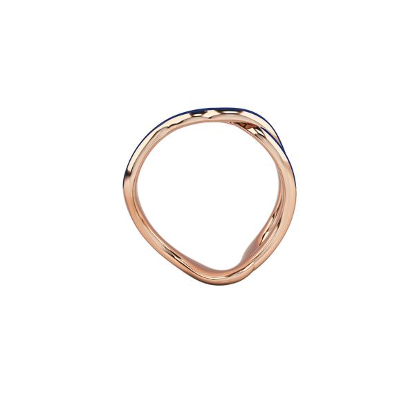 1986 Wiggle Wiggle Thread Royal Blue Enamel & Rose Gold Ring