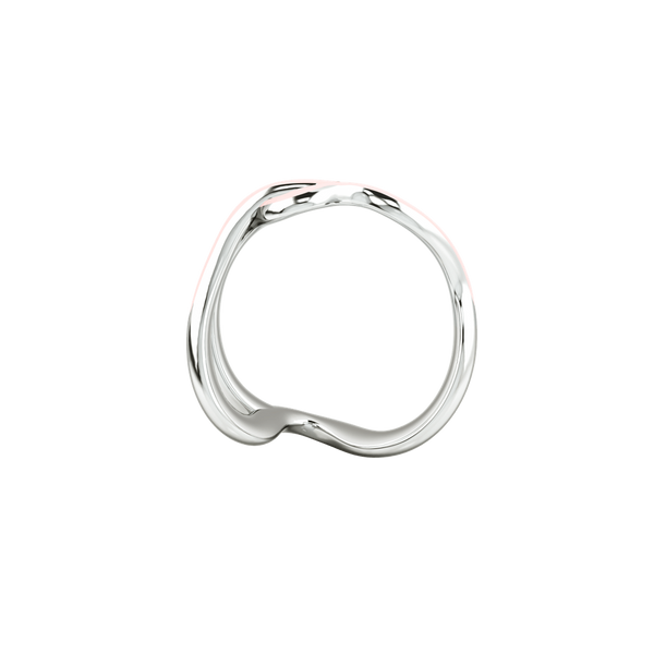 1986 Wiggle Wiggle Thread Baby Pink Enamel & Rhodium Ring