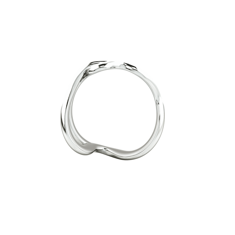 1986 Wiggle Wiggle Thread White Enamel & Rhodium Ring
