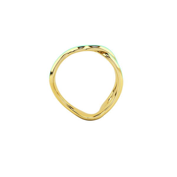 1986 Wiggle Wiggle Thread Baby Green Enamel & Gold Ring