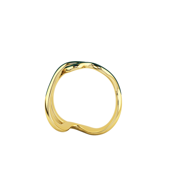 1986 Wiggle Wiggle Thread Emerald Green Enamel & Yellow Gold Ring