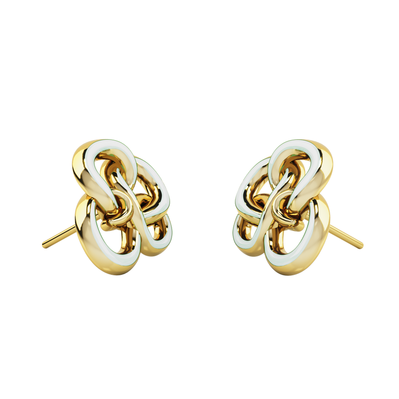 MEMORY KNOT CLOUD WHITE & GOLD EARRING