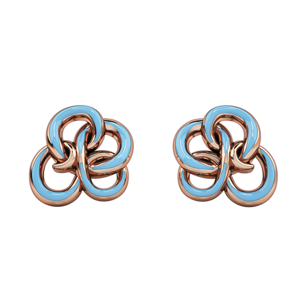 1986 Wiggle Wiggle Memory Knot Baby Blue Enamel & Rose Gold Stud Earring