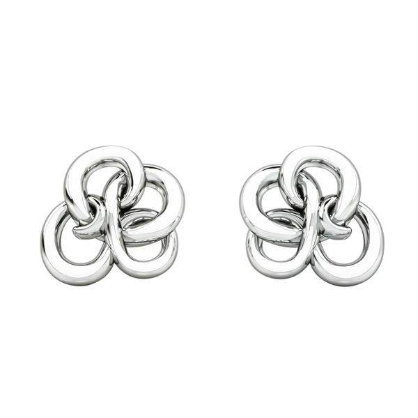 1986 Wiggle Wiggle Memory Knot White Enamel & Rhodium Stud Earring