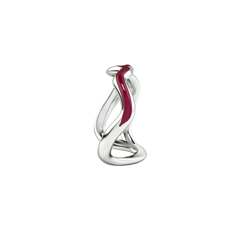 1986 Wiggle Wiggle Thread Wine Red enamel & Rhodium Ring
