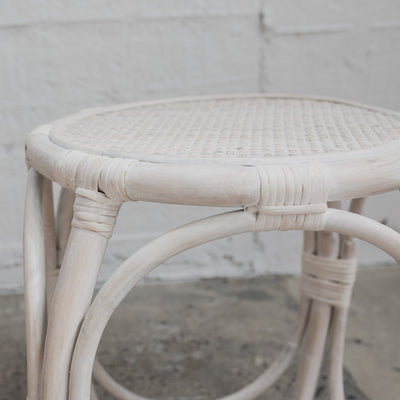 Whitewash Rattan Side Table
