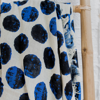 handstamped blue cotton throw for interiors corcovado furniture new zealand