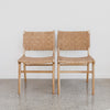 Tan Leather Weave Dining Chair