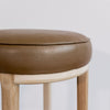 Round Leather Bar Stool (Soft Brown)