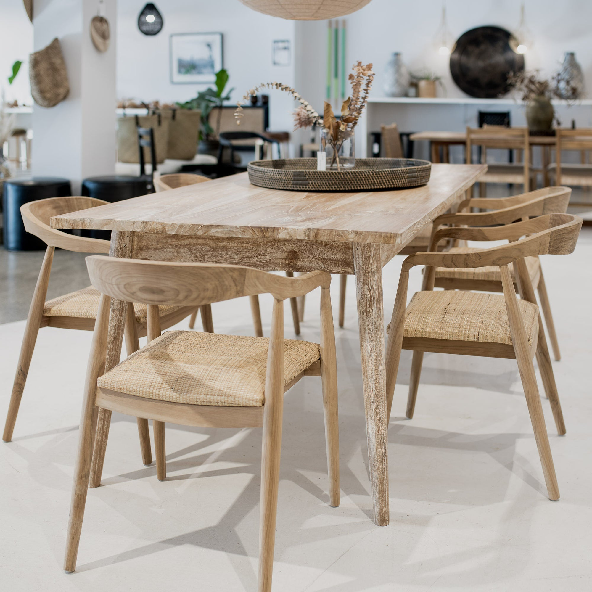 Whitewash Teak Dining Table Corcovado