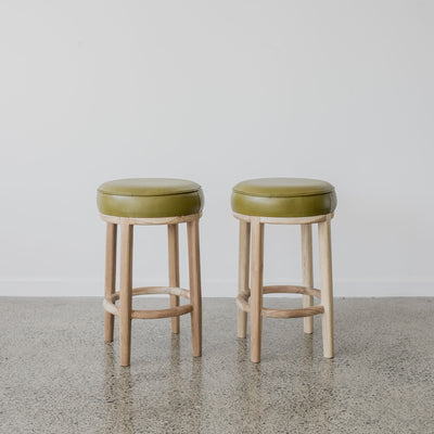 Round Leather Bar Stool (Martini Green)