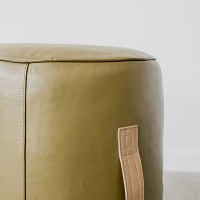 round leather pouff ottoman with leather handle corcovado furniture auckland christchurch