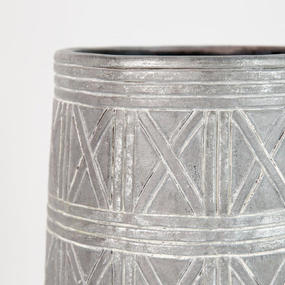 Silver Patterned Oversized Vase