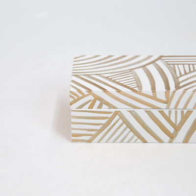 White and Gold Painted Jewellery Box