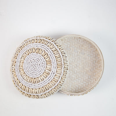 Hand Beaded Shell Basket (XL)