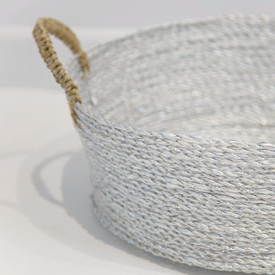 Silver Handwoven Basket (with Jute Handles)
