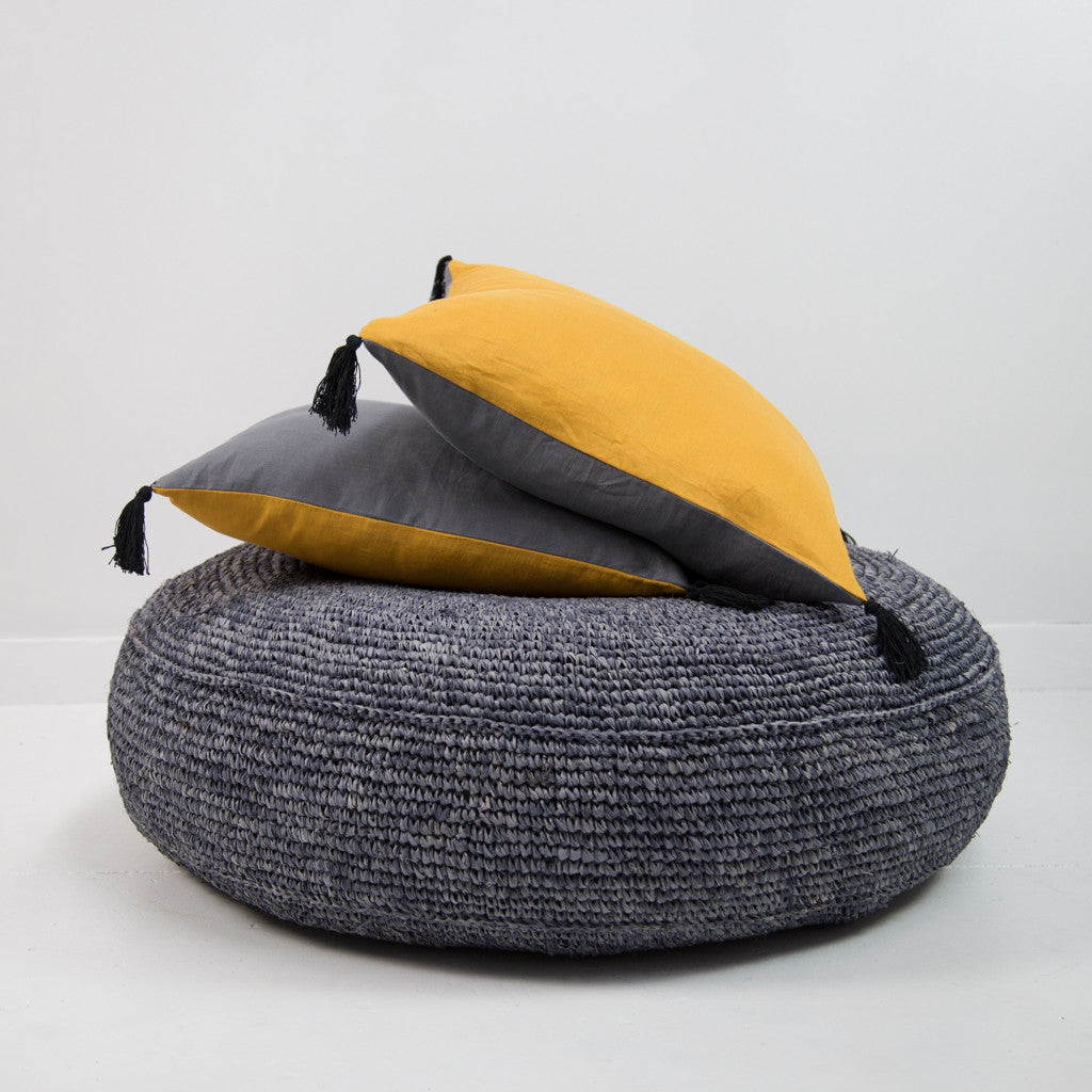 Yellow & Grey Linen Cushion Cover