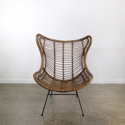 vintage brown rattan wing chair nz