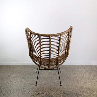Vintage Brown Rattan Wing Chair