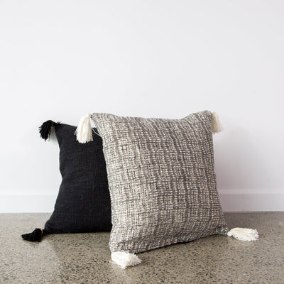 Black Cotton Cushion with tassels