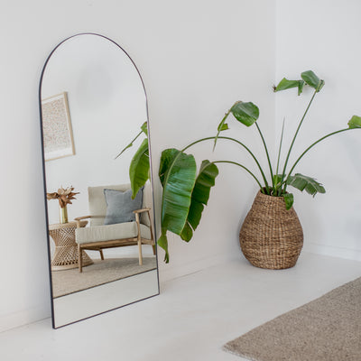 black arch mirror oversized standing mirror corcovado furniture christchurch new zealand
