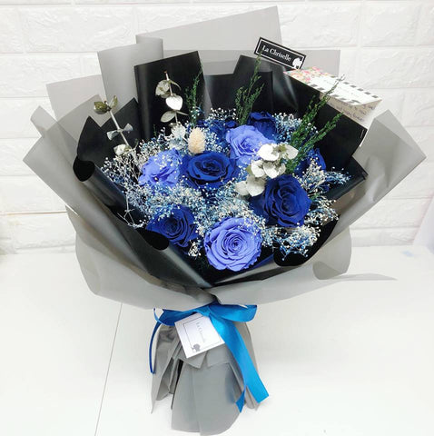 天長地久9 枝貴族藍紫保鮮玫瑰花束 Forever Love 9 Navy Blue & Purple Preserved Roses Bouquet