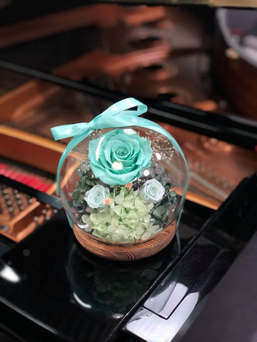 浪漫 Tiffany  Blue 水晶球保鮮花 Boule de Cristal Crystal Ball  Tiffany Blue Preserved Flowers
