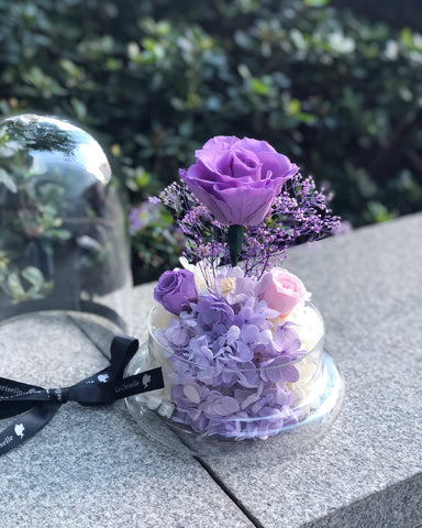 相愛頸鏈+紫玫瑰花園保鮮花禮 Best Seller La Romance in Purple Preserved Flowers and heart necklace