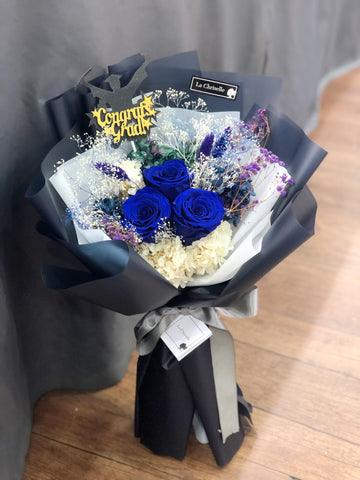 3 枝貴族藍保鮮玫瑰花束 Navy Blue Preserved Roses Bouquet