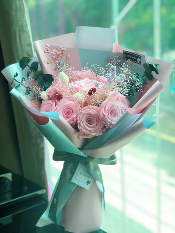 (有燈)天長地久9枝粉紅保鮮玫瑰花束  Forever Love Preserved Pink Rose  Flower Bouquet