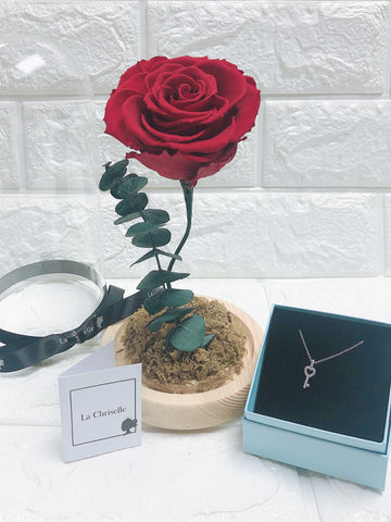 美女與野獸之保鮮玫瑰 +心心鎖匙頸鏈 Beauty and the Beast Preserved Rose Flower + Love Key Necklace