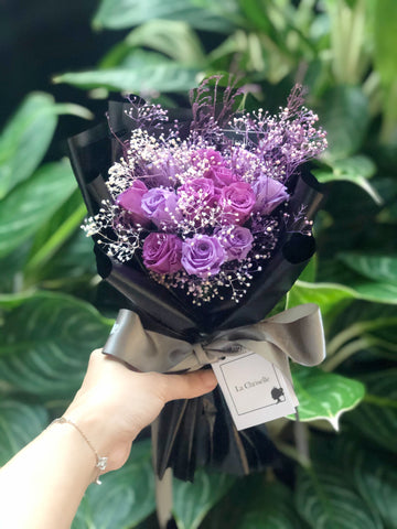 迷你版天長地久9枝紫色保鮮玫瑰花束  Le Petit Forever Love Preserved Purple Rose  Flower Bouquet