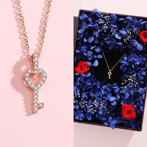 星空情書版甜心鑰匙頸鏈保鮮花禮盒 Love Key Necklace Starry Night Preserved Flower Box