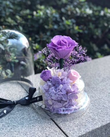 (811 送旺角)紫玫瑰花園保鮮花禮 Best Seller La Romance in Purple Preserved Flowers 的副本