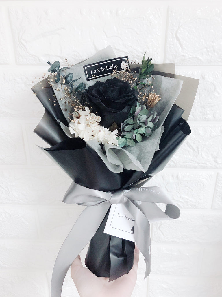 暗黑系迷你黑色保鮮玫瑰花束 Mini Surprise Black Preserved Rose Bouquet