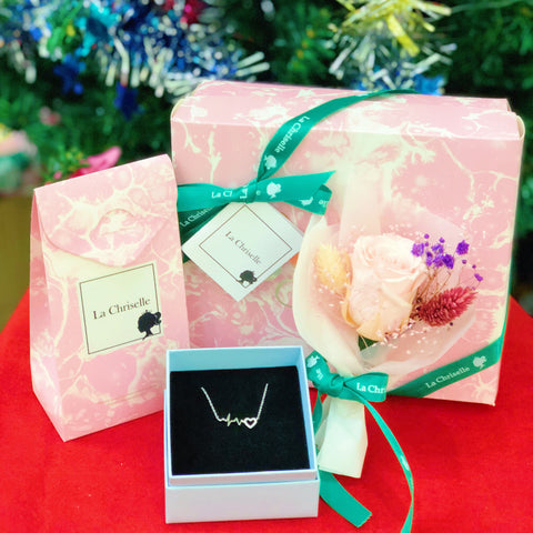 (甜心保鮮花禮盒版) 動心頸鏈  Melt Your Heart Necklace Preserved Flower Box