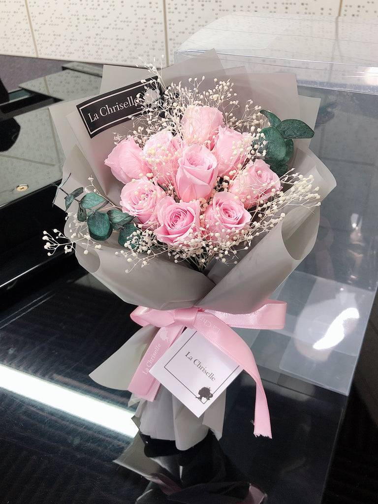 迷你版天長地久9枝粉紅色保鮮玫瑰花束  Le Petit Forever Love Preserved Pink Rose  Flower Bouquet