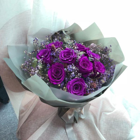 天長地久9枝 深紫色保鮮玫瑰花束 Forever Love Purple Preserved Rose Flower Bouquet