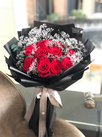天長地久9枝紅色保鮮玫瑰花束 Forever Love Red Preserved Rose Flower Bouquet