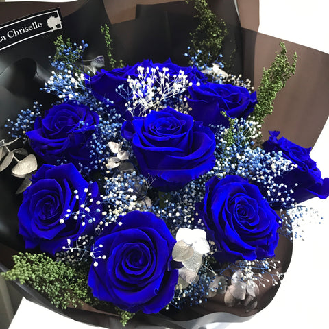 天長地久9 枝貴族藍保鮮玫瑰花束 Forever Love 9 Navy Blue Preserved Roses Bouquet
