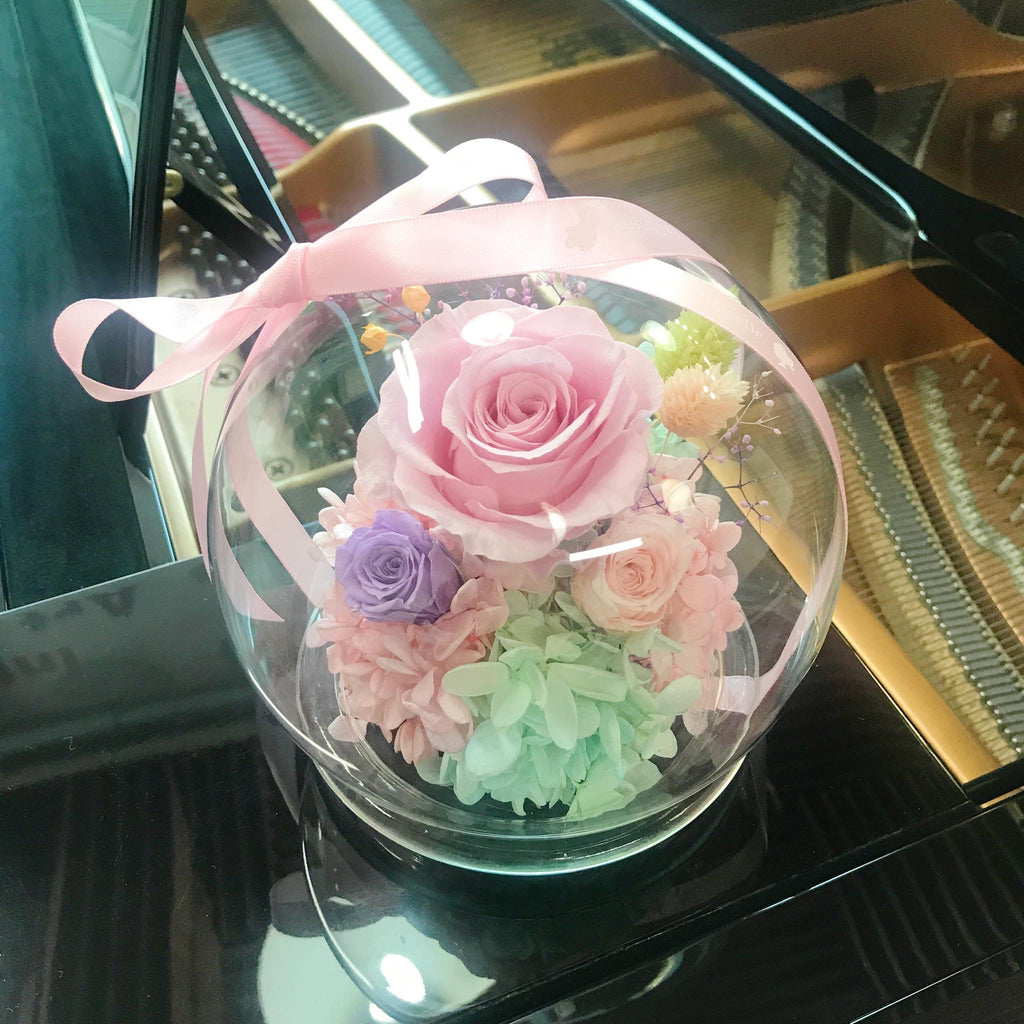 浪漫水晶球保鮮花 Boule de Cristal Crystal Ball Pink Preserved Flowers
