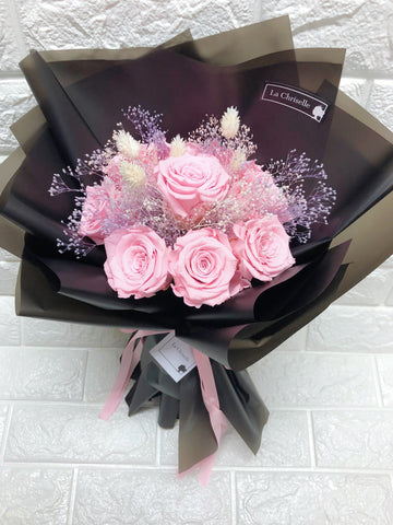 天長地久9枝粉紅保鮮玫瑰花束  Forever Love Preserved Pink Rose  Flower Bouquet