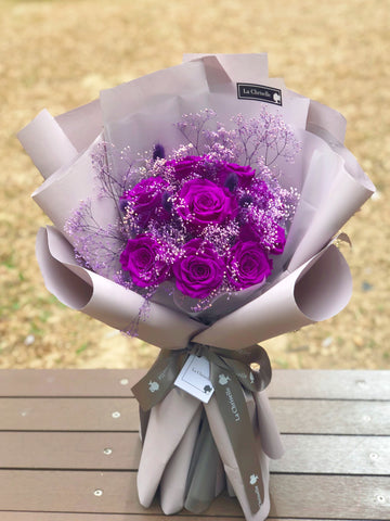 天長地久9 枝深紫保鮮玫瑰花束 Forever Love 9 Purple Preserved Roses Bouquet