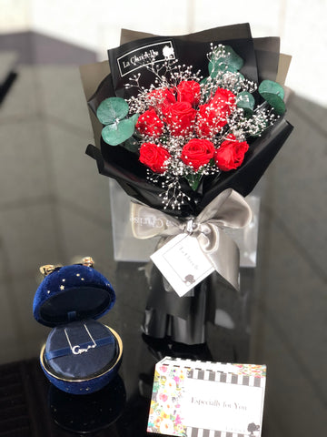 情人套裝頸鏈+ 迷你版天長地久9枝紅色保鮮玫瑰花束  Le Petit Forever Love Red Preserved Rose  Flower Bouquet and necklace