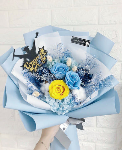 粉藍黃小姐色系三枝保鮮花束 Blue Yellow tune Preserved Roses Bouquet