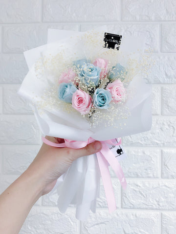 迷你版天長地久9枝粉紅粉藍色保鮮玫瑰花束 Le Petit Forever Love Preserved blue pink rose Flower Bouquet