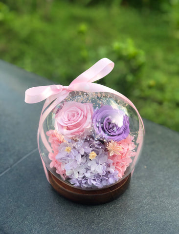 粉紅粉紫玫瑰花水晶球保鮮花 Pink Purple Rose Preserved Flowers Crystal Ball Gift